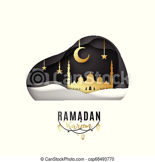 Diseño de tarjetas de felicitación en la ocasión del sagrado mes de Musulmán ramadan kareem. - csp68493770