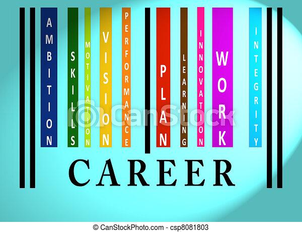 kariera, barcode, słowo, barwny - csp8081803