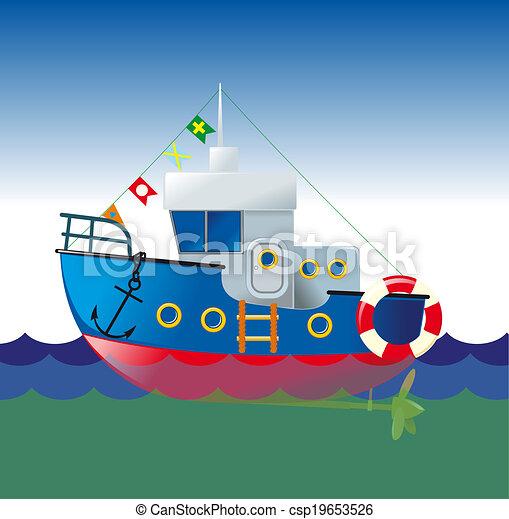 karikatúra, csónakázik - csp19653526