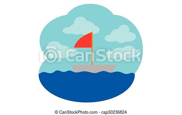 karikatúra, csónakázik - csp30236824