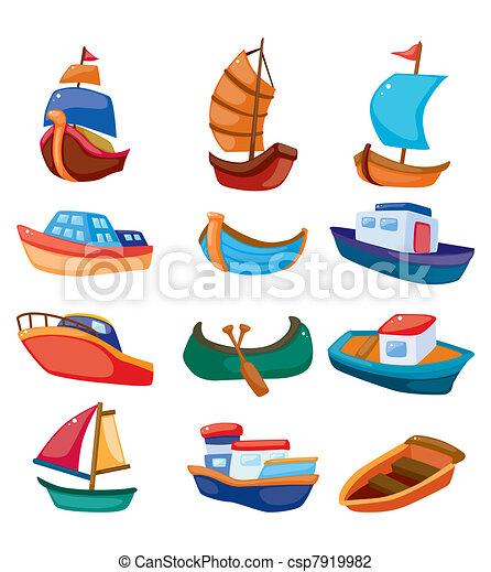 karikatúra, csónakázik, ikon - csp7919982
