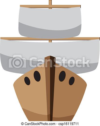 karikatúra, csónakázik - csp16119711