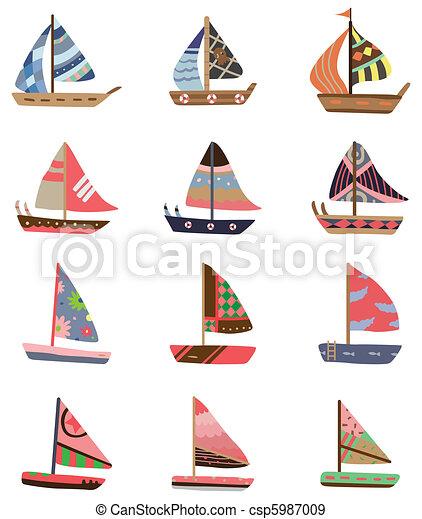 karikatúra, ikon, vitorlás hajó - csp5987009