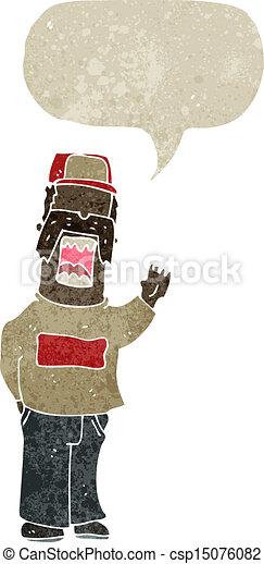 karikatúra, retro, szerelő, ember - csp15076082