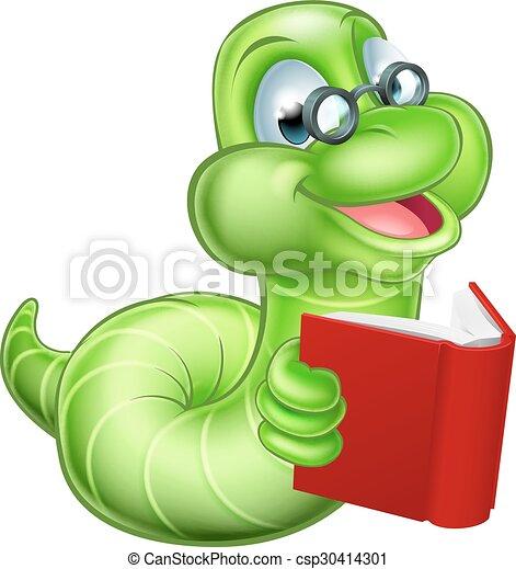 Bücherwurm clipart  Karikatur, bücherwurm. Reizend, wurm, bücherwurm, raupe, buch, grün ...