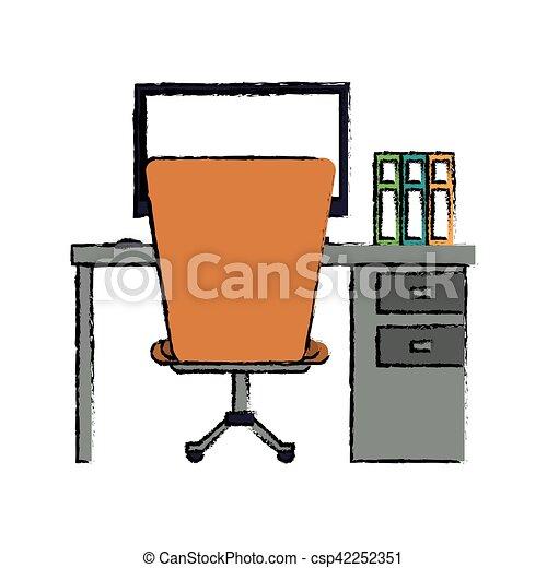 Schreibtisch büro clipart  Clipart Vektor von karikatur, edv, buecher, stuhl, schreibtisch ...