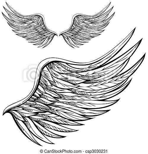 karikatur, engelflügel - csp3030231