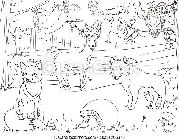 Karikatur, färbung, tiere, buch, wald. Erzieherisch,... Vektoren ...