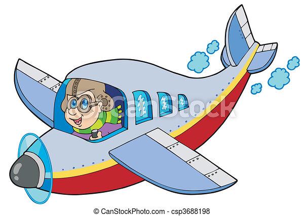 karikatur, flieger - csp3688198