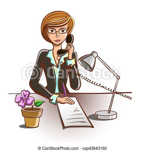 Karikatur Freigestellt Sekretärin Antworten Telefon Abbildung