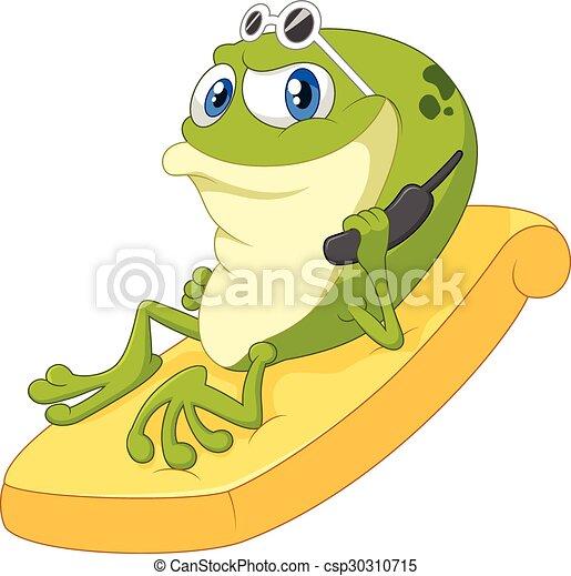 karikatur, frosch, entspannen - csp30310715