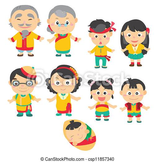 Cartoon-Familien-Ikone - csp11857340