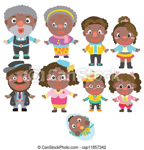 karikatur, ikone, familie - csp11857342