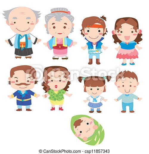 karikatur, ikone, familie - csp11857343