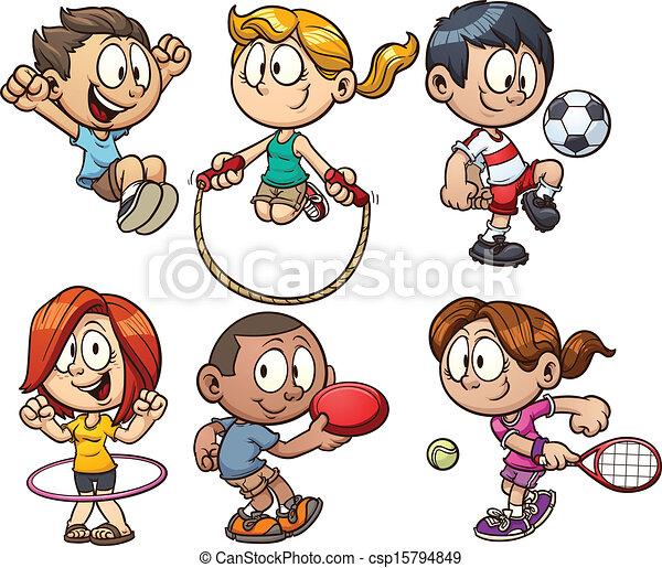 karikatur, kinder, spielende  - csp15794849