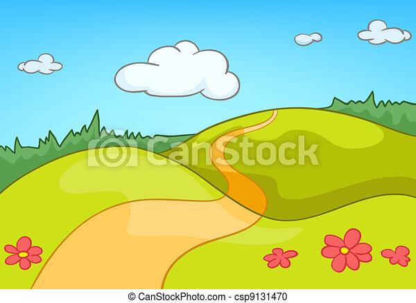 karikatur, landschaftsbild, natur - csp9131470