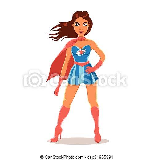 karikatur, m�dchen, kostüm, superhero - csp31955391