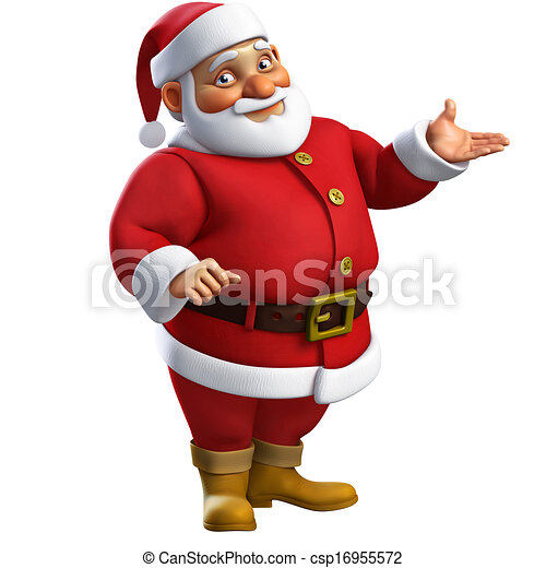 karikatur, santa, 3d - csp16955572