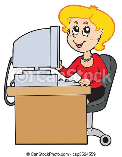 Illustration Vektor Hintergrund Weißes Karikatur Sekretärin