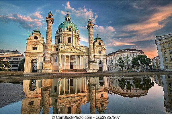 Karlskirche in Vienna, Austria at Sunset. St. Charles's Church - csp39257907