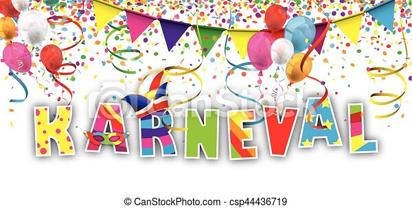 Karneval Confetti Ribbons Header German Text Karneval Translate
