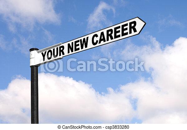 karrier, új, -e, útjelző tábla - csp3833280