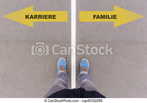 Karriere / Familie, German text for career or family on asphalt ground, feet and shoes on floor - csp45332289