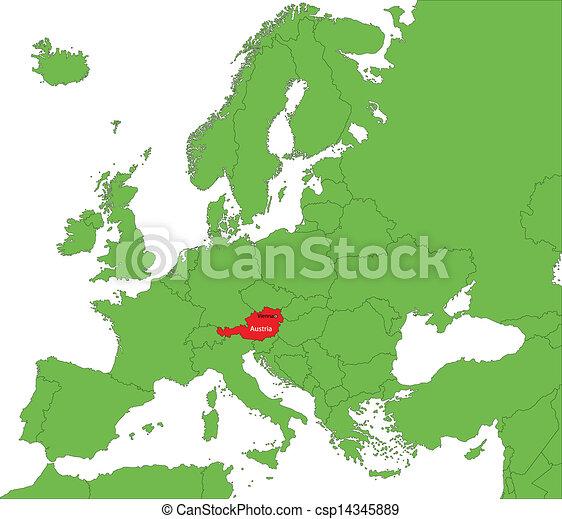 Karta Osterrike Osterrike Europa Lokalisering Kontinent