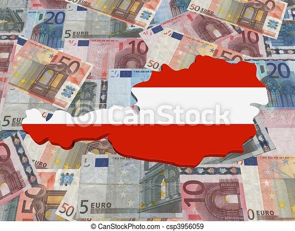 Karta österrike Illustration Valuta Flagga Euro 3