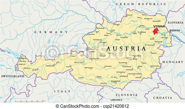 Karta Osterrike Politisk Wien Karta Scaling Nationell