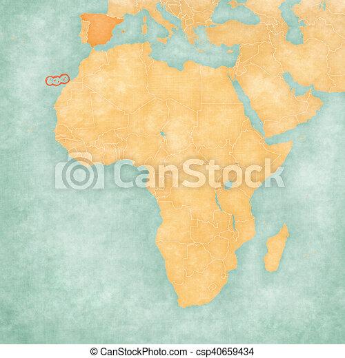 Karta Afrika Kanarieoarna Karta Gammal Lik Argang Paper