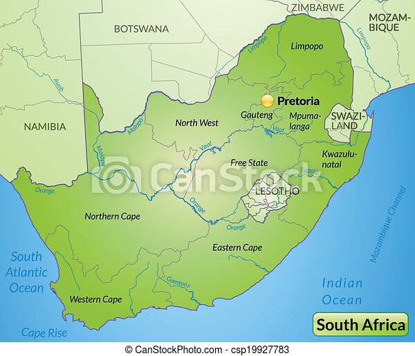 karta, afrika, syd - csp19927783