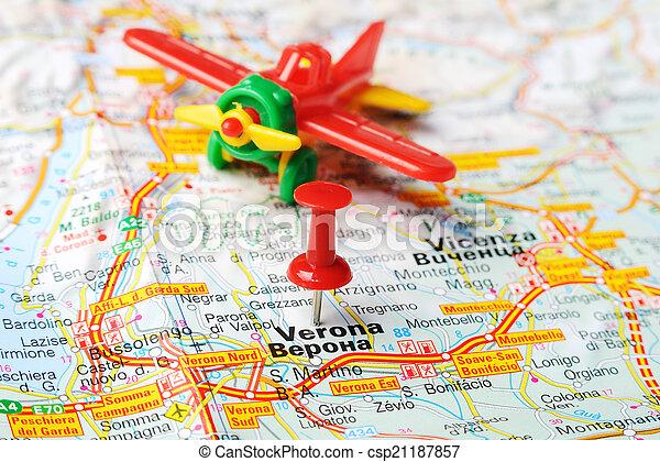 Karta Nord Italien.Karta Airplane Italien Verona Karta Begrepp Italien Stift