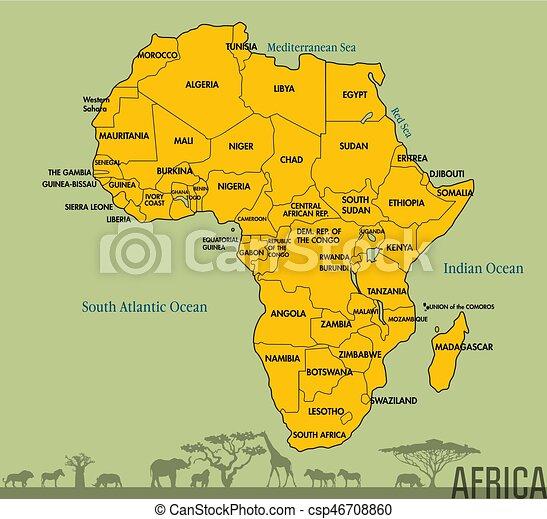 Karta Alla Afrika Lander Detaljerad Karta Alla Tallrik