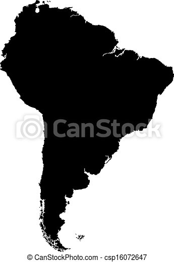 karta, amerika, svart, syd - csp16072647