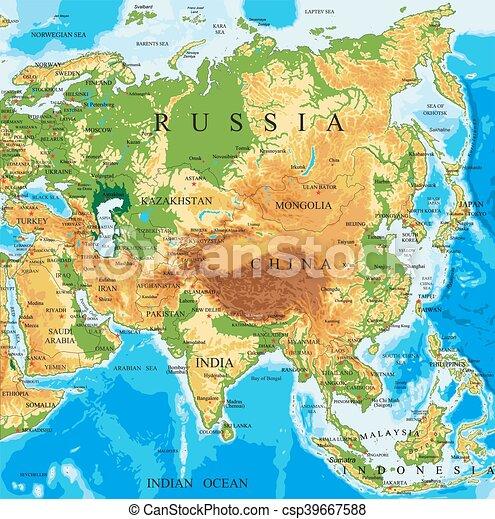 Karta Asien Fysisk Detaljerad Karta Alla Hogt Vektor Asien