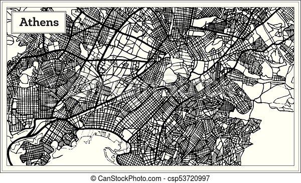 Karta Aten Grekland.Karta Aten Color Svart Grekland Vit Karta Illustration Map