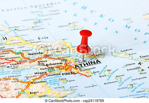 Karta Aten Grekland.Karta Aten Karta Begrepp Stift Resa Uppe Aten Grekland