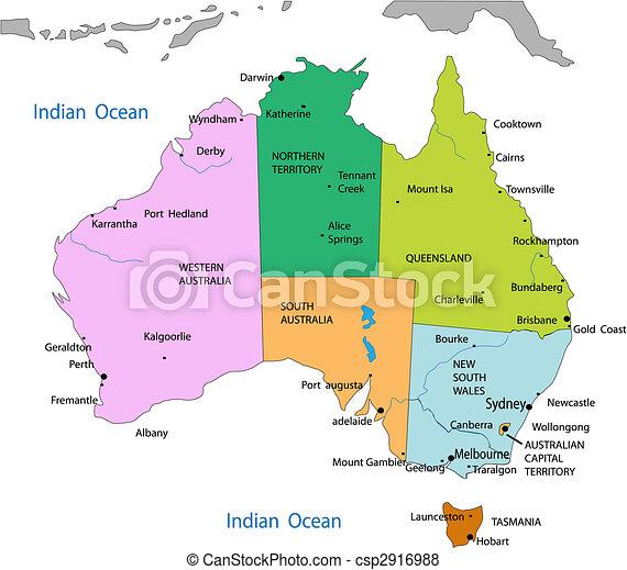 karta, australien, politisk - csp2916988