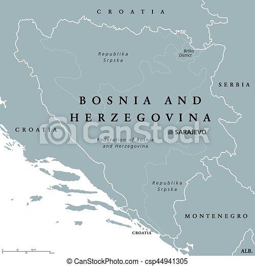 Karta Bosnien Och Hercegovina.Karta Bosnien Herzegovina Politisk Sarajevo Huvudstad Europa