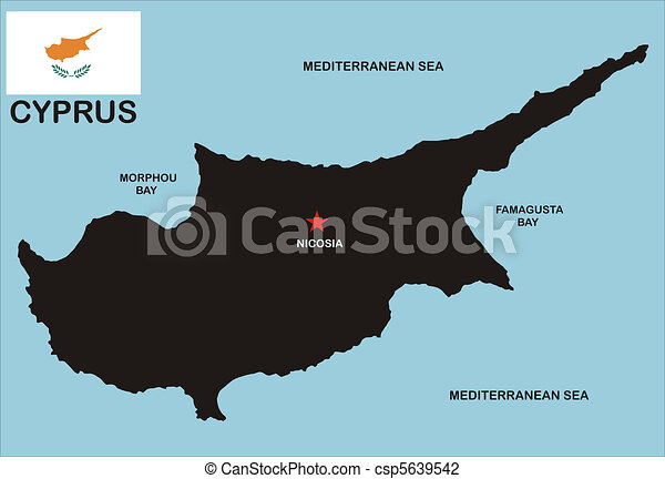 Karta Famagusta Cypern.Karta Cypern Grannar Karta Land Medborgare Politisk Flagga