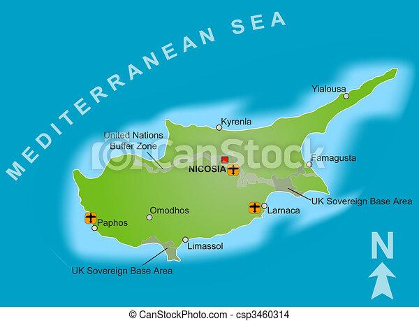 Karta Cypern Flygplats.Karta Cypern Karta Olik Enigt Flygplatsen Buffert Cypern