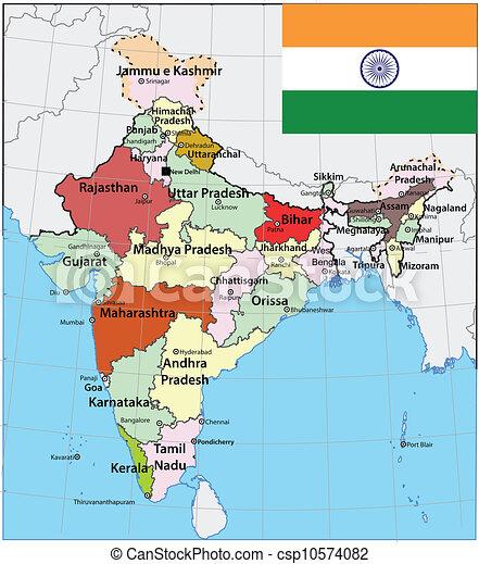 Karta Flagga Indien
