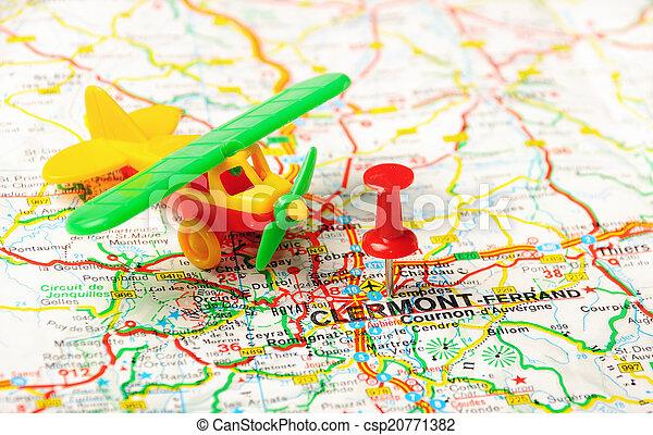 flygplatser frankrike karta Karta, flygplats, frankrike, clermont. Karta stift, pekande  flygplatser frankrike karta