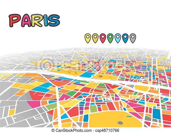 Karta Frankrike Paris I Centrum Vektor 3 Streets Karta Streets Fyllda Areal Vattenvag Paris Gra I Centrum