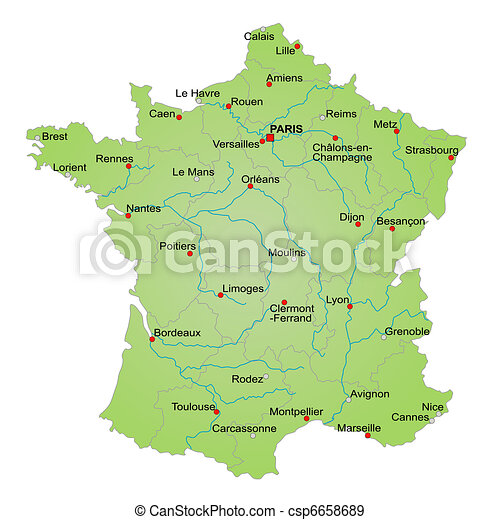 städer i frankrike karta Karta, frankrike. Karta, alla, landsorten, visande, fransk  städer i frankrike karta