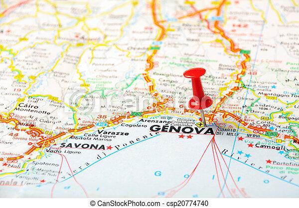 Italien Karta Genova.Karta Genova Karta Stift Pekande Genova Genua Trycka Rod