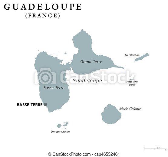 Karta Guadeloupe Politisk Karta Engelsk Karibisk Gra