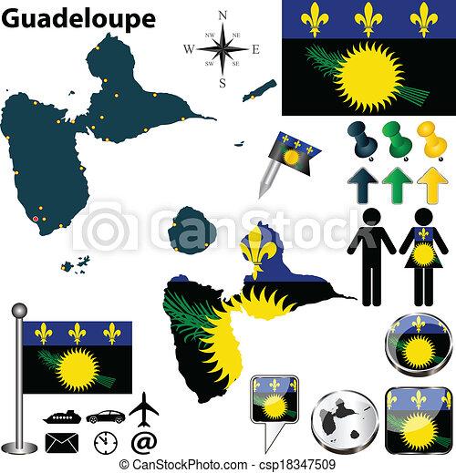 Karta Guadeloupe Detaljerad Satta Ikonen Land Region Vektor