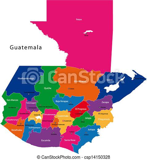 Karta Guatemala Karta Huvudsaklig Guatemala Fargad Lysande